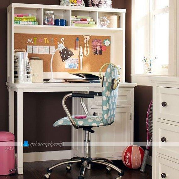 میز تحریر و صندلی دخترانه برای خانم های نوجوان و جوان، مدل میز تحریر جادار و کوچک برای اتاق خواب های کوچک، میز تحریر چوبی سفید رنگ برای اتاق خواب دختران نوجوان
