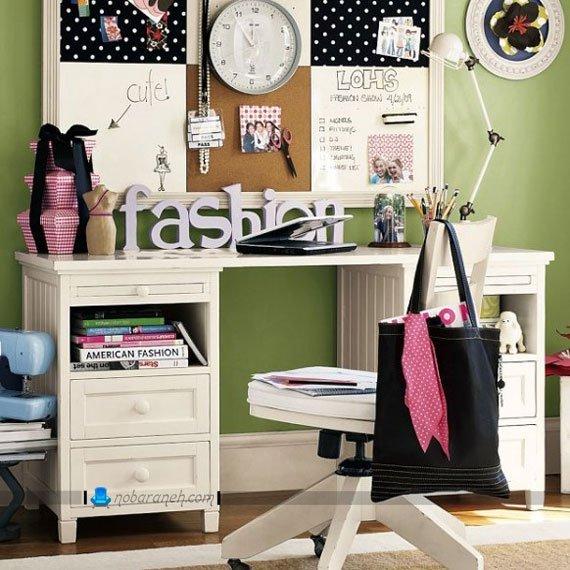 میز تحریر و صندلی ساده برای اتاق خواب کودکان و نوجوانان، طراحی دکوراسیون دخترانه اتاق خواب نوجوانان با رنگ سبز و سفید، میز تحریر ساده و کلاسیک سفید رنگ