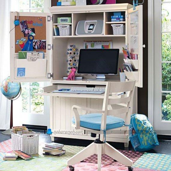 میز تحریر و کامپیوتر کوچک کمجا برای اتاق کودک و نوجوان، مدل میز تحریر کمدی شکل و جادار، میز کامپیوتر برای اتاق خواب خانم های جوان و نوجوان