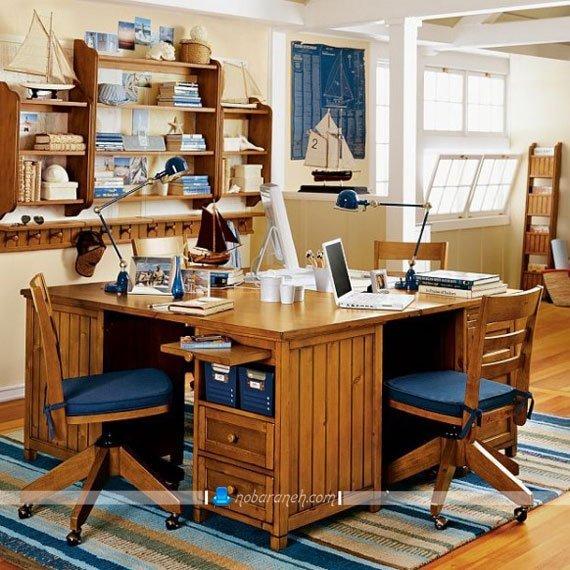 میز و صندلی تحریر کلاسیک برای اتاق خواب نوجوانان، مدل میز تحریر چند کاربره برای اتاق خواب نوجوانان، میز و صندلی چوبی با طرح کلاسیک و زیبا