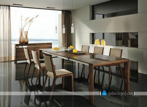 میز ناهارخوری چوبی شش نفره شیک و ساده