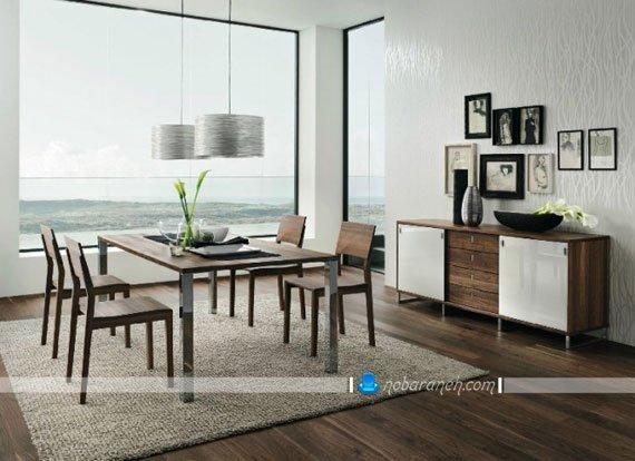 میز ناهارخوری چوبی و فلزی با طراحی ساده و زیبا