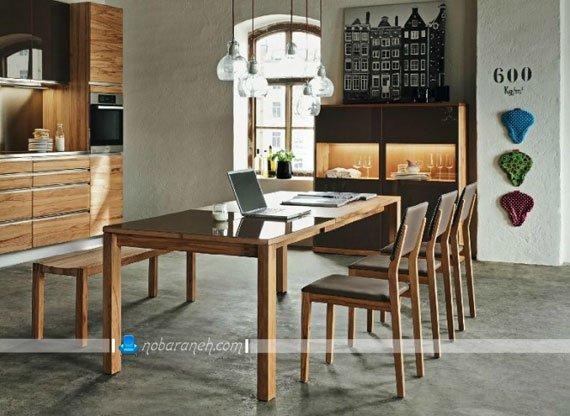 میز ناهارخوری چوبی شش نفره با صفحه شیشه ای