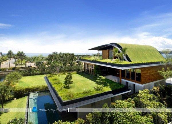 روف گاردن مدرن در پشت بام خانه ییلاقی، باغ بام و روف گاردن برای سرسبز کردن پشت بام