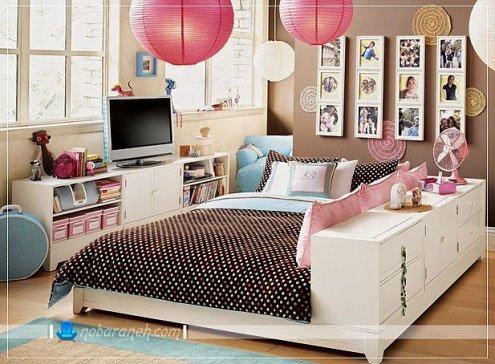 عکس و مدل تخت خواب اتاق نوجوانان با کمدهای جادار / عکس