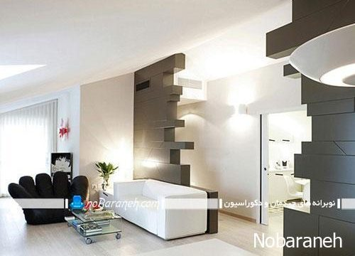 دیزاین مدرن و شیک در اتاق نشیمن با سیاه و سفید