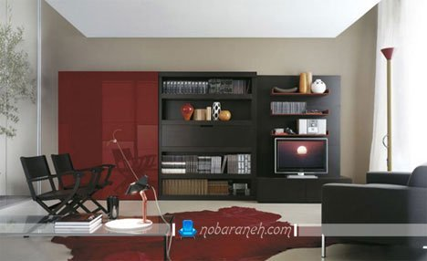 میز تلویزیون دیواری به شکل شلف و باکس
