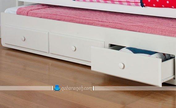 عکس و مدل تخت خواب اتاق کودک با فضا و کشوهای جادار / عکس