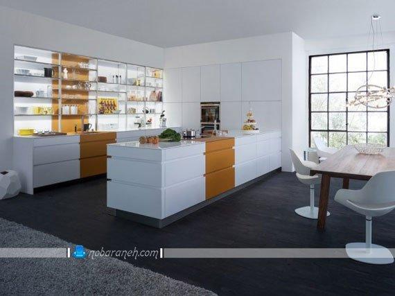 نورپردازی کابینت سفید آشپزخانه