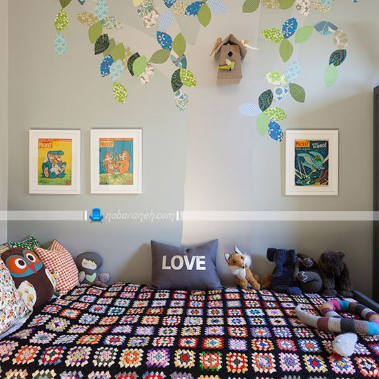 استیکر تزیینی برای دیوار اتاق خواب بچه ها و کودکان / عکس