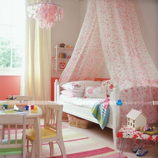طراحی دکوراسیون اتاق کودک با رنگ صورتی به شکل دخترانه / عکس
