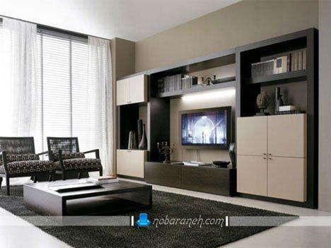 شلف و باکس تلویزیون دیواری با طراحی مدرن و بزرگ