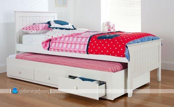تخت خواب کودک دو طبقه دخترانه