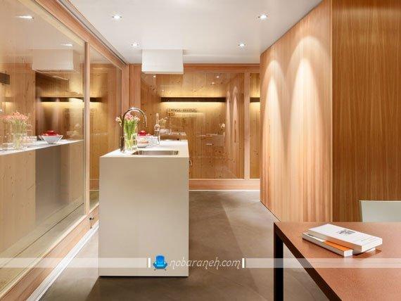 طراحی دکوراسیون مدرن منزل با چوب و شیشه