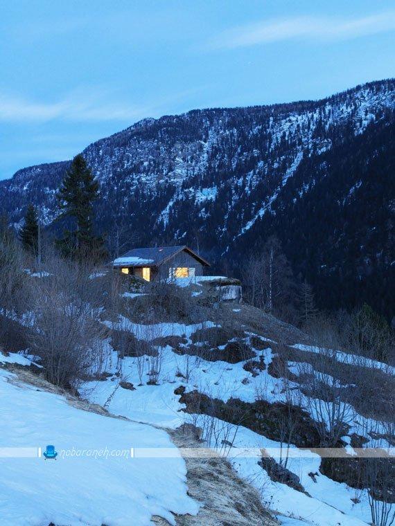 دکوراسیون داخلی خانه کوهستانی با دیزاین چوبی و شیشه ای