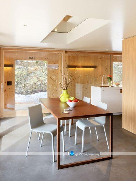 طراحی دکوراسیون چوبی و شیشه ای خانه