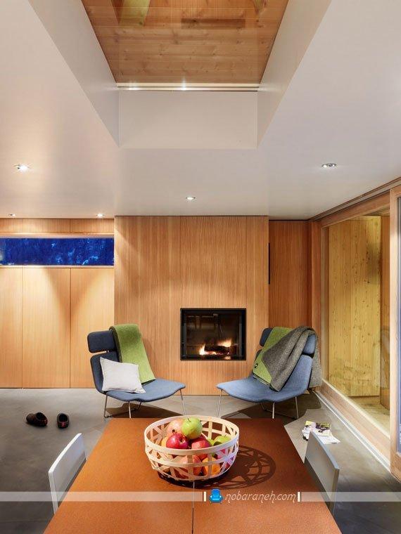 طراحی دکوراسیون شیک و مدرن با چوب و شیشه