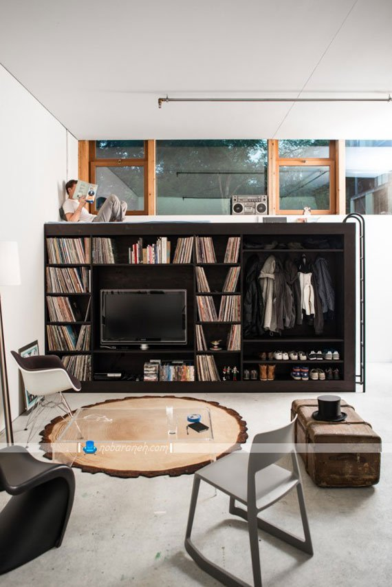 کمد چوبی با کتابخانه ، میز تلویزیون و جاکفشی، کمد چوبی با تخت خواب دانشجویی مناسب خانه های مجردی