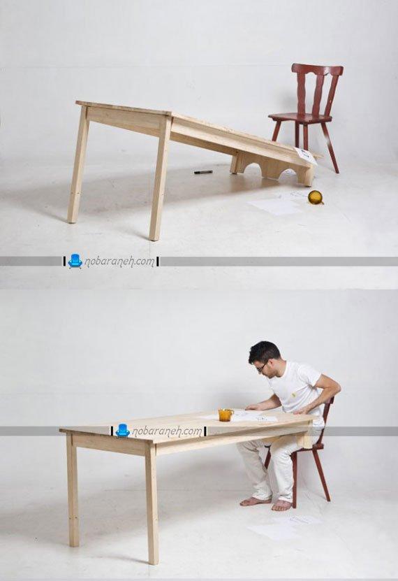 میز چوبی دو پایه با طراحی جدید و فانتزی / عکس