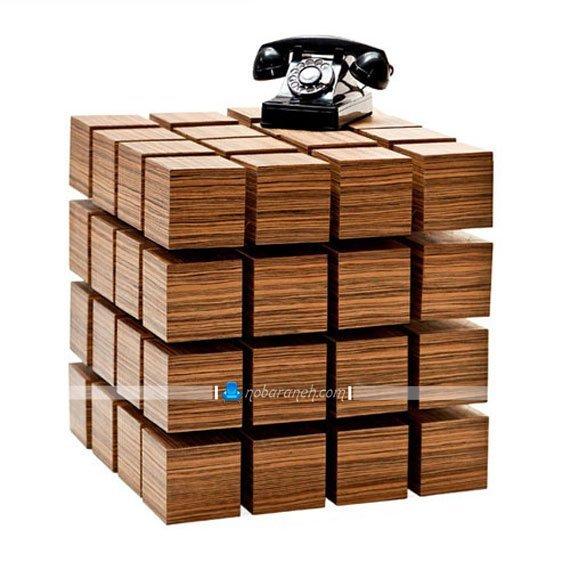 میز تلفن چوبی و فانتزی با طرح و مدل روبیک چوبی / عکس