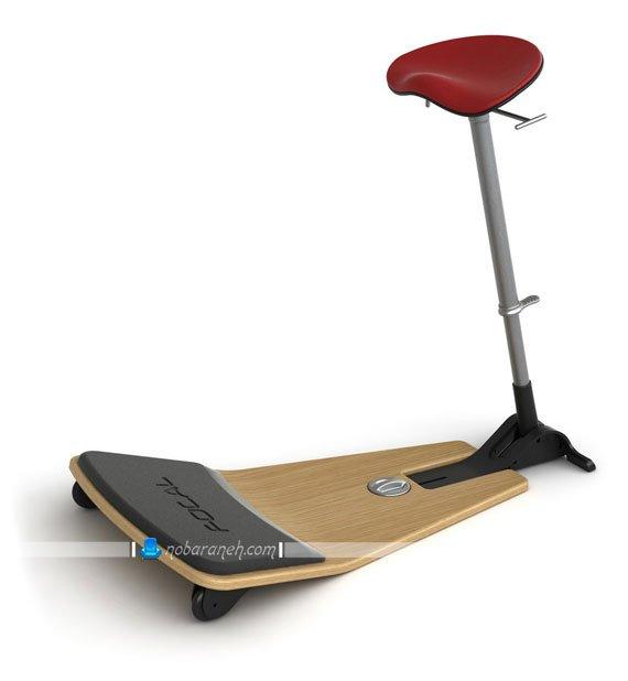 عکس مدل صندلی میز کامپیوتر با پایه چوبی و انعطاف پذیر / عکس
