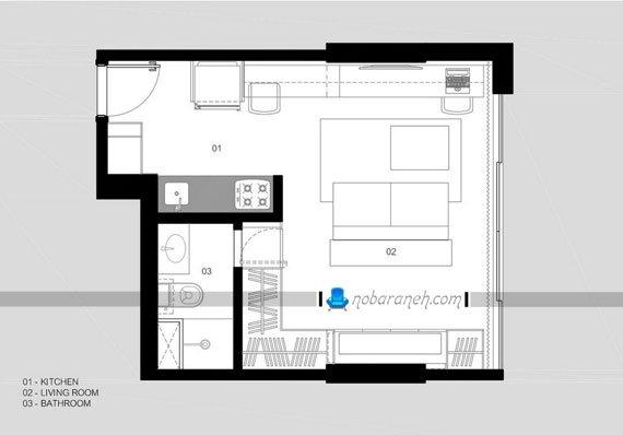 نقشه پلان و دکوراسیون داخلی خانه کوچک