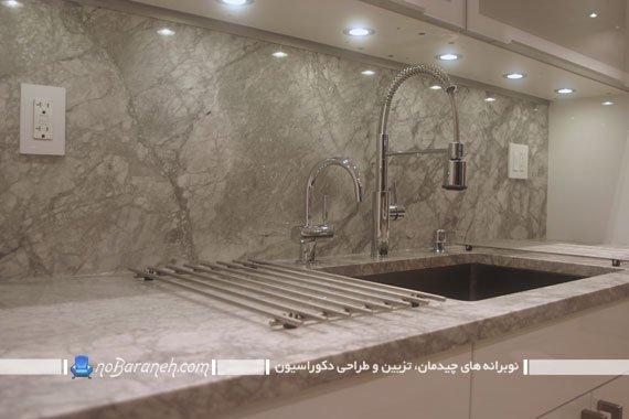 عکس و مدل نورپردازی کابینت آشپزخانه با لامپ هالوژن