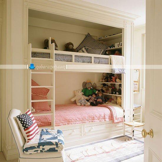 تخت خواب دو طبقه نردبانی در اتاق خواب کودکان / عکس