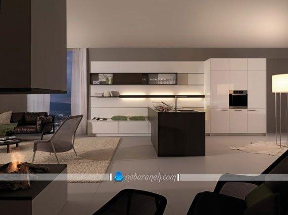 مدل های شیک نورپردازی کابینت سفید آشپزخانه