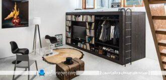 کمد چوبی و کمجا چند کاره برای اتاق مجردی و دانشجویی