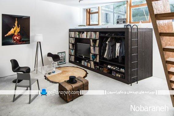 یک محصول چوبی همه کاره دارای میز تلویزیون، تخت خواب و کتابخانه و جالباسی