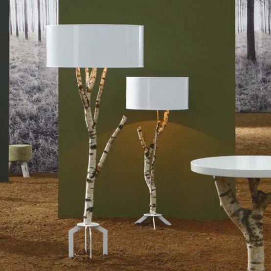 مدل آباژور فانتزی پایه بلند با بدنه طرح درختی