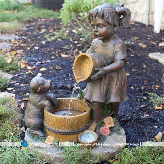 آبنما سنگی با طرح کودک روستایی، تزیینات دکوراسیون خارجی / عکس