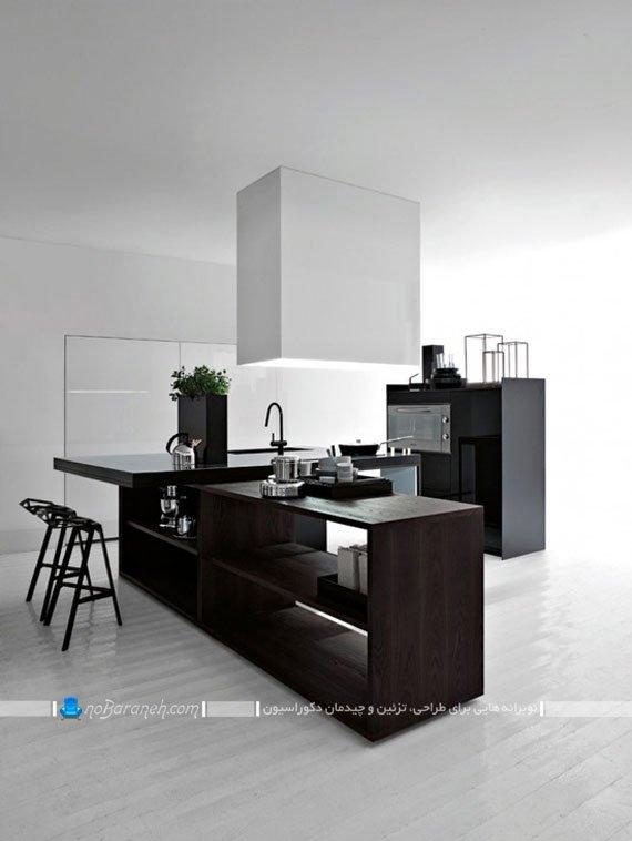 کابینت رنگ تیره مشکی در فضای سفید آشپزخانه