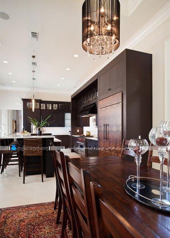 مدل کابینت های تیره رنگ در آشپزخانه مدرن و کلاسیک