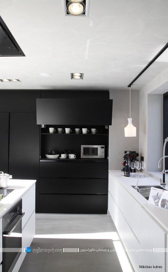 کابینت سیاه و سفید مدرن