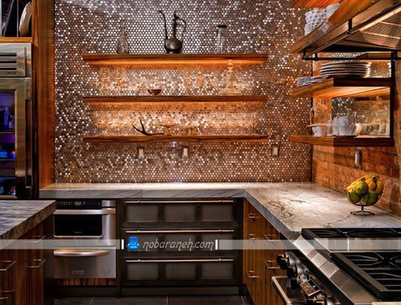 پوشش دیوارهای آشپزخانه با کاشی های آنتیک و براق، کاشی دیواری آشپزخانه با رنگ براق نقره ای