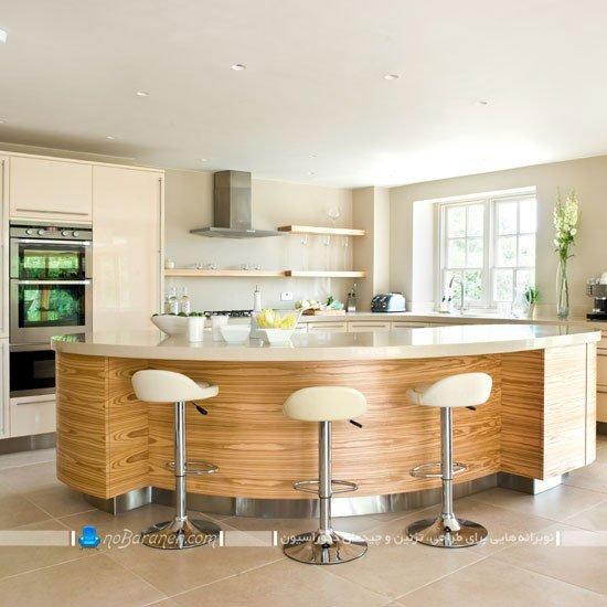 آشپزخانه زیبا و مدرن با اپن منحنی و نیم دایره