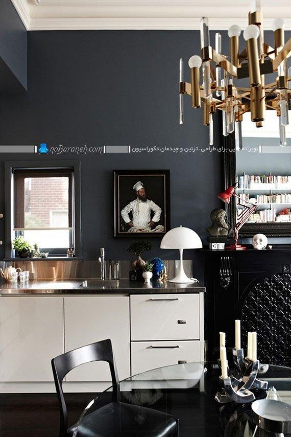 طراحی دکوراسیون مدرن آشپزخانه با سیاه و سفید