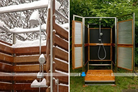 مدل های متنوع اتاقک دوش چوبی برای استخرهای روباز / عکس