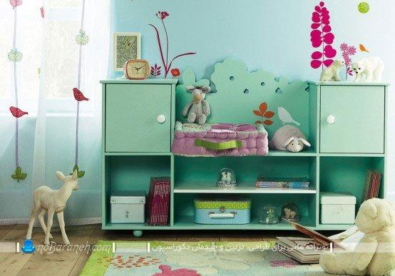 کمد جادار و قفسه بندی شده برای اتاق کودک و بچه / عکس