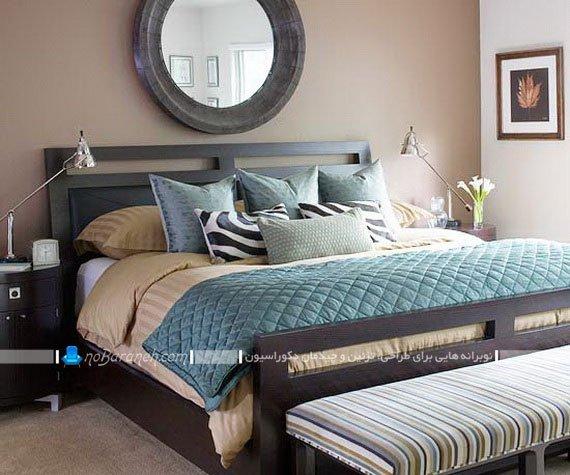 رنگ آمیزی شیک اتاق خواب با آبی و کرم یا قهوه ای
