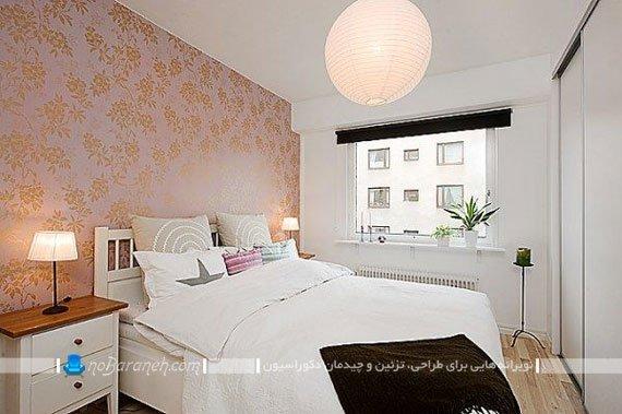 چیدمان و تزیین اتاق عروس با کاغذ دیواری زیبا