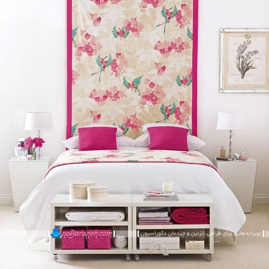 تزیین فضای پشت سرویس خواب با طرح های گلدار / عکس