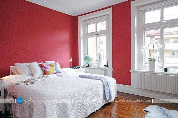 تزیین دکوراسیون اتاق خواب با رنگ های سفید و قرمز / عکس