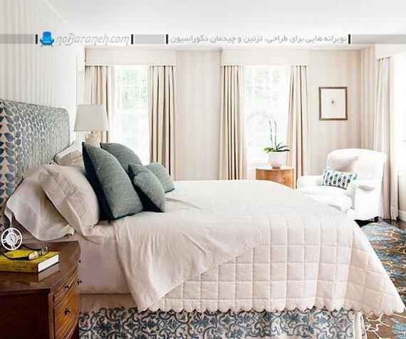 رنگ آمیزی اتاق خواب با آبی و سفید به شکل کلاسیک