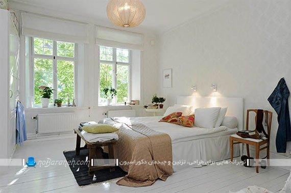 طراحی و تزیین دکوراسیون اتاق خواب با رنگ سفید / عکس