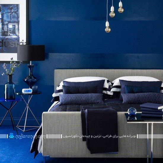 طراحی دکوراسیون مدرن اتاق خواب با رنگ آبی و سورمه ای / عکس