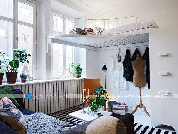 نصب تخت خواب در ارتفاع به شکل نیمه دوبلکس