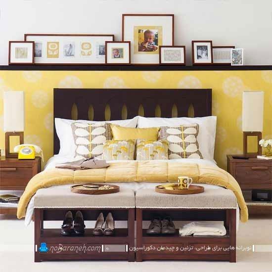 طراحی و تزیین اتاق خواب عروس با رنگ زرد / عکس